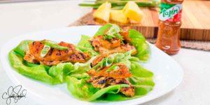 Wraps de Lechuga con Pollo y Piña A La Parrilla