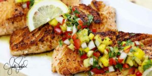 TAJÍN® Salmon with Pineapple Mango Salsa